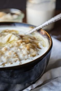 Overnight Oatmeal with Whiskey Butter and cream