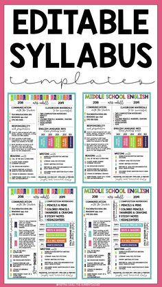 This creative and editable infographic syllabus BUNDLE includes multiple different black and white and full color syllabus templates to use in your upper elementary, middle school, or high school classroom. Create eye-catching, visually appealing syllabus/syllabi that your students will actually read during the first days and first week of school. Middle School Syllabus, Class Syllabus, Middle School English, Syllabus Ideas, Middle School Classroom, I School, First Day Of School, School Notes, School Ideas