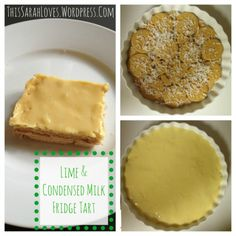 Lime and Condensed Milk Fridge Tart - Milk Tart, Happy July, Condensed Milk, Something Sweet, Yummy Food, Delicious Recipes, Chicken Recipes, Lime, Sweets