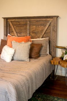 53 DIY, Repurposed and Upcycled Headboard Ideas | HGTV Picture Frame Headboard, Old Headboard, Headboard With Lights, How To Make Headboard, Modern Headboard, Wingback Headboard, Headboard Ideas, Diy Headboards, Sliding Cabinet Doors