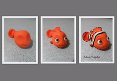 Here is how to to make fondant Nemo. Polymer Clay Figures, Polymer Clay Charms, Polymer Clay Projects, Clay Crafts, Polymer Clay Fish, Polymer Clay Disney, Fondant Animals, Clay Animals, Nemo Cake