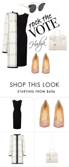 """""""Rock the vote"""" by hadyadel ❤ liked on Polyvore featuring Roland Mouret, Christian Louboutin, L.K.Bennett and Yves Saint Laurent"""