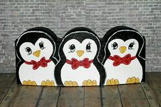 Penguins scalloped paver stone Painted Bricks Crafts, Brick Crafts, Painted Pavers, Stone Crafts, Painted Rocks, Block Painting, Stone Painting, Brick Art, Outdoor Crafts