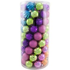 Holiday Time Orange, Purple and Green Shatterproof Christmas Ornaments, Set of 101