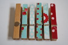 Merry Clothespin Magnets- Set of 6 Reclaimed Clothespin Magnets, Kitchen Decor, Cottage Chic, Farmhouse Kitchen, Aqua and Red. $5.00, via Etsy.