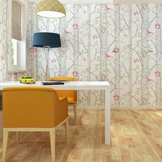 Free Shipping Warm Imitation Bark Pattern Flower And Bird House Tree Non-woven Bedroom Children Wallpaper 5.3m2