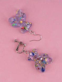 Funky Earrings, Funky Jewelry, Diy Earrings, Resin Jewelry, Cute Jewelry, Clip On Earrings, Earrings Handmade, Girls Earrings, Kawaii Jewelry