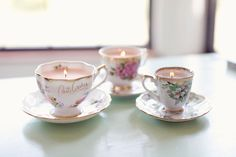 Fill vintage teacups with wax to create these fanciful candles. Get the tutorial at Hey Gorgeous Events »   - CountryLiving.com