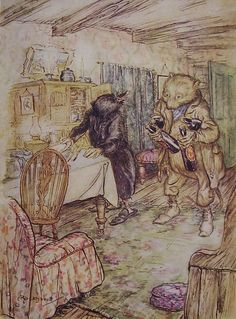 Vintage Children's Print - Arthur Rackham - Wind in the Willows - Beer Bottles…