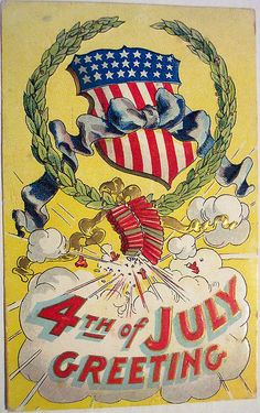 Independence Day Fourth of July Postcard Firecrackers Wreath Shield Exc Doodle, July Images, Patriotic Images, Happy Birthday America, 4th Of July Celebration, Old Glory, Happy 4 Of July, Illustrations, Vintage Greeting Cards