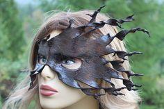 leather dark spiral bark mask by TBTOBEDESIGNED1 on Etsy, $45.00