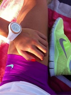Love this look! Ladies can be sporty but feminine with pretty nails, cute watch, cool shoes well put together:)