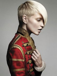 Hair by Errol Douglas, cannot find photographer or model credit. Good Chaosite. Blonde young unusual