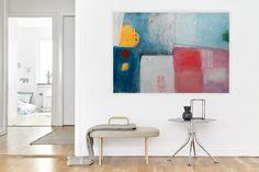 Seascape Abstract Painting, Large Modern Artwork, Pink Blue,White Purple, Grey Orange, Modern Art, White Interior Colorful Art 100 x 70 cm by AjdinovicStudio on Etsy