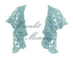 Hand crocheted lacy aqua shawl-style shrug. This is the alternative way to wear our pinwheel crochet vest. Original design by MoonlitMemory on Etsy.