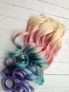 """Pastel Tie Dye Hair, Blonde Ombre Hair Extensions, Pastel Pink, Blue and Purple, 7Pieces//Clip In//22"""". $245.00, via Etsy."""