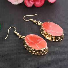 Gold Plated Copper & Red Resin Earrings