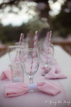 Bow napkins and striped straws. My pink wedding