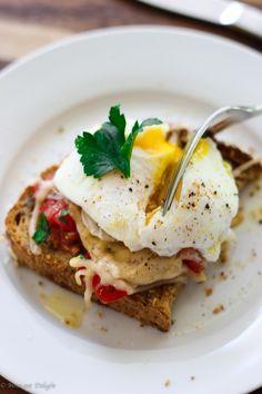 Poached egg on parmesan tomato toast