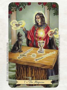 The Magician - Everyday Witch Tarot by Deborah Blake , Elisabeth Alba Tarot Card Spreads, Tarot Cards, The Magician Tarot, Tarot Major Arcana, Tarot Card Meanings, Witch Art, Tarot Readers, Pentacle, Oracle Cards