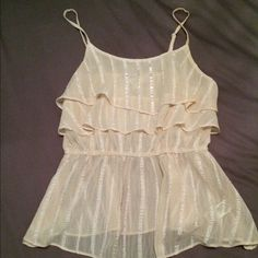Top from forever21 Cream top from Forever21 size small... It is see through material is a little thicker across chest area! Forever 21 Tops Blouses