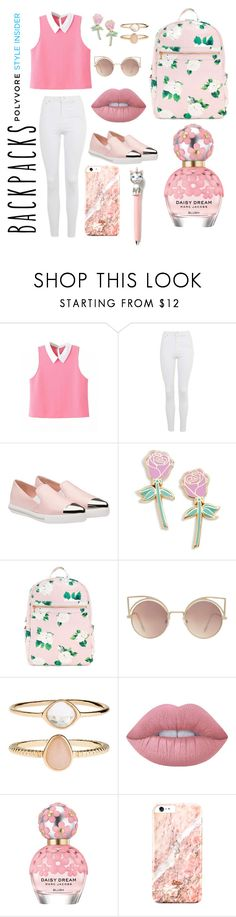 """Sem título #346"" by bia-melo ❤ liked on Polyvore featuring Topshop, Miu Miu, Big Bud Press, MANGO, Accessorize, Lime Crime, Marc Jacobs, backpacks, contestentry and PVStyleInsiderContest"