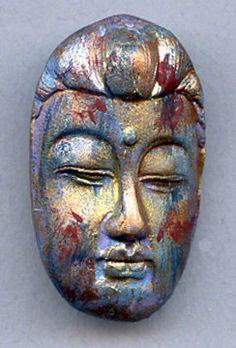 Polymer Clay Abstract One of a Kind Buddha Face Cab by linsart