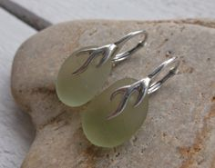 Seafoam Sea Glass Sterling Silver Lever Back by SeahamWaves, £15.00