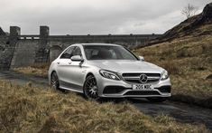 Download wallpapers Mercedes-AMG C63, 2017, 4k, white sedan, new cars, business class, German cars, Mercedes