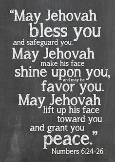 May Jehovah bless you...