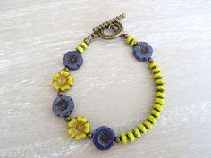 Czech Glass Bracelet,Flower Bracelet,Lime Bracelet,Lavender Bracelet,Ladies Brac £13.00