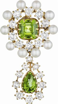 Antique Peridot, Pearl and Diamond Brooch