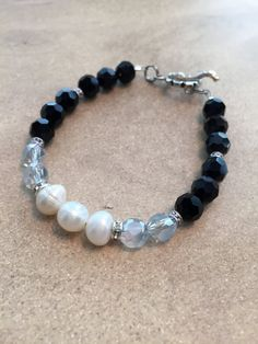 Pearls and Black Bead Bracelet by SharonKrug on Etsy