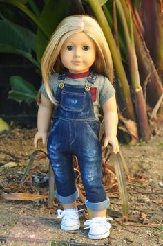 American Made Doll Clothes Overalls by LoriLizGirlsandDolls - American Girl Dolls American Girl Doll Pictures, American Doll Clothes, Ag Doll Clothes, Clothes Crafts, Doll Clothes Patterns, Dress Patterns, Cosas American Girl, American Girl Crafts, Poupées Our Generation