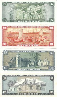 Billetes de 5, 10, 50 y 100 soles de oro antiguos (reverso)