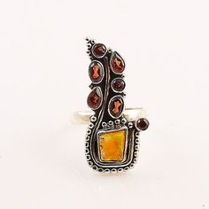 Ethiopian Opal Rough & Garnet Paisley Sterling Silver Ring – Keja Designs Jewelry