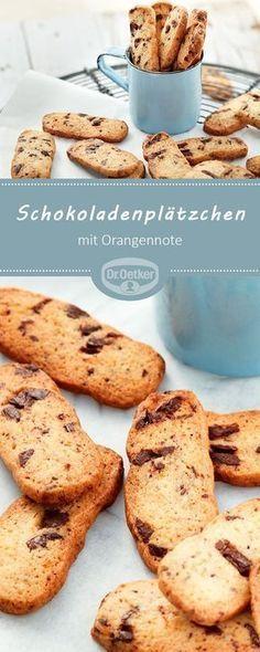 Schokoladenplätzchen mit Orangennote: Knusprige Plätzchen mit feiner Schokolade und einer Orangennote zu Weihnachten #Kekse #Cookies