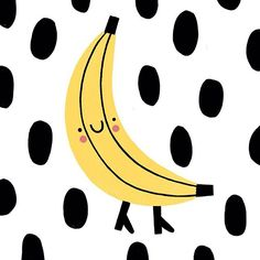 Crazy banana  #illustration #susiehammer #banana #fruit #drawing #sketching #hey