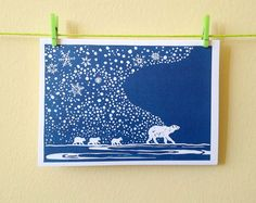 C6 Polar bear & cubs, snowflakes, lino print Christmas card New Baby Greetings. Great for Christmas, a family occasion. A6, with envelope.