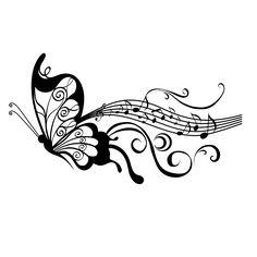 music staff images | Sticker papillon partition