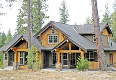 Plan Marvelous Mountain Home Floor plan. Like the open floor plan for kitchen, dining and living but needs more sq footage with study, mud room, etc. Mountain House Plans, Mountain Homes, Mountain Home Exterior, Mountain Living, Log Cabin Homes, Log Cabins, Master Suite, House Floor Plans, Open Floor Plans