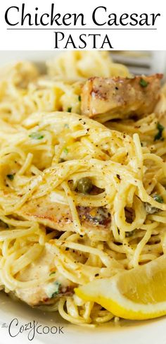 Angel Hair Pasta and blackened chicken in a creamy Caesar sauce with lemons and capers. An easy dinner idea your family will love! dinner recipes with chicken One Pot Chicken Caesar Pasta Pasta Dishes, Food Dishes, Main Dishes, Pasta Food, Shrimp Pasta, Pesto Pasta, Easy Dinner Recipes, Easy Meals, Yummy Dinner Ideas