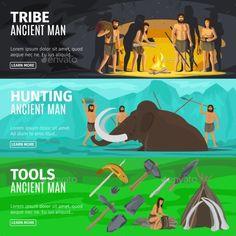 Stone Age Caveman Evolution Banners