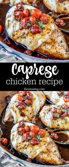 Caprese Chicken Recipe is an easy dinner recipe that turns boneless, skinless chicken breasts into a delicious 30 minute meal! Poulet Caprese, Baked Caprese Chicken, Lemon Chicken, Lunch Recipes, Easy Dinner Recipes, Cooking Recipes, Healthy Recipes, Breakfast Recipes, Diet Breakfast