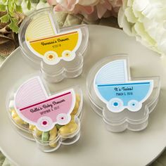 A fun box in the shape of a baby stroller makes a great favor for a baby function. Fill them with delightful treats and add a customized label on top that matches the decor theme of your tables!