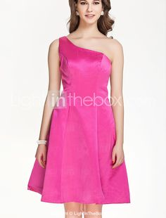 A-line One shoulder Knee-length Stain Bridesmaid Dress - AUD $ 77.70