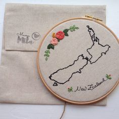 New Zealand map embroidery