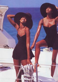 "loveisinvogue: "" Vogue US May 1992 ""Summer's Bare Necessities"" Models: Tyra Banks, Beverly Peele and Naomi Campbell ph: Patrick Demarchelier "" Cindy Crawford, Patrick Demarchelier, 90s Models, Fashion Models, Yacht Fashion, Fashion Outfits, Fashion Trends, Kate Moss, Beverly Peele"