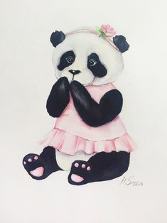 Excited to share this item from my shop: Panda watercolor original Fairy Paintings, Bear Paintings, Panda Painting, Painting Of Girl, Panda Love, Cute Panda, Cartoon Girl Drawing, Girl Cartoon, Panda Family