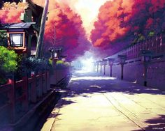✮ ANIME ART ✮ anime scenery. . .street. . .lanterns. . .architecture. . .fence. . .trees. . .autumn leaves. . .nature. . .perspective. . .realism. . .amazing detail. . .kawaii